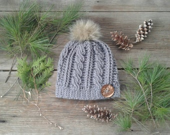 Cable crochet beanie hat with Faux fur pompom