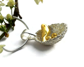 Birds Nest Necklace with Golden Bird and Eggs - Sterling Silver Necklace - Mixed Metal Pendant - Nature Jewellery