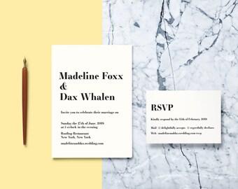 Typist Modern Wedding Invitation Suite// Modern and Contemporary Wedding Invitation Suite // Printable Wedding Invites