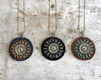 Turquoise brown leather mandala necklace, black leather pendant necklace, blue leather boho necklace, bold necklace