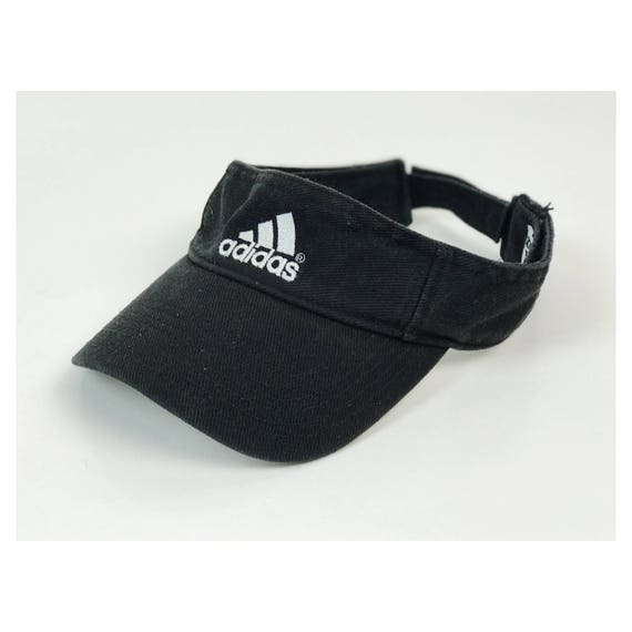 ADIDAS Sun Visor - Velcro Back Sporty Black Adidas Logo Hat - Black Sparty Sun Visor Adjustable Velcro Unisex Health Goth Sporty Visor Hat