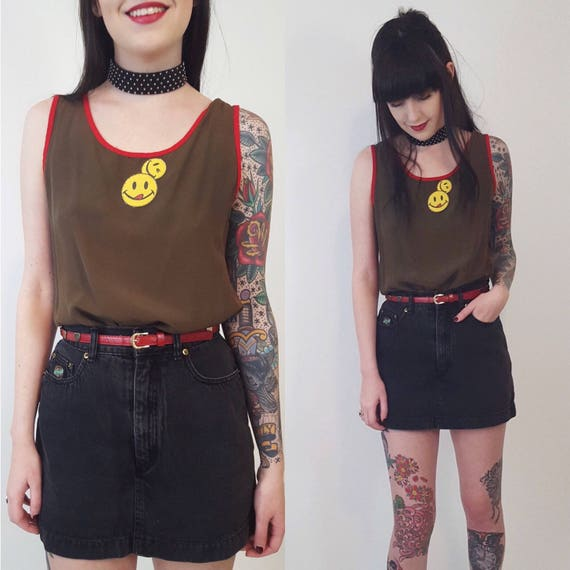 1990s Upcycled Smiley Patch Shirt - Small Olive Green Red Tank Top - Remade Smile Face Patched Eco Friendly Fashion Womens Summer Top