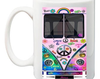Peace Tie Dye Minivan Bus Tea, Coffee Mug 11 ounce oz