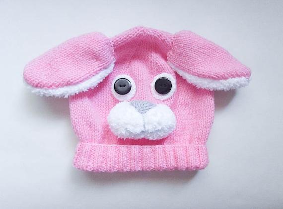 Knitting Pattern Rabbit Hat : Knitting pattern bunny rabbit hat baby beanie animal