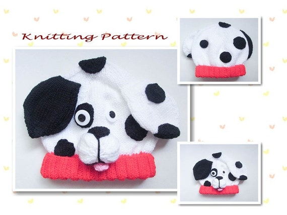 Puppy Dog Hat Knitting Pattern : Knitting Pattern Dalmatian Puppy Dog Baby Beanie Hat Animal