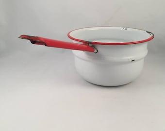 Vintage Enamelware Double Boiler Top, Rustic Enamelware Pan