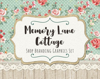 Shabby Chic Etsy Shop Banners, Avatar Icons, Business Card, Logo Label + More - 13 Premade Branding Graphics Files - MEMORY LANE COTTAGE