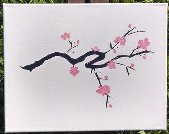 Cherry blossom stencil etsy for Cherry blossom wall mural stencil