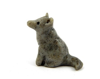 Speckled Gray Wolves, Choose One, Miniature Stone Look Figurines, Polymer Clay