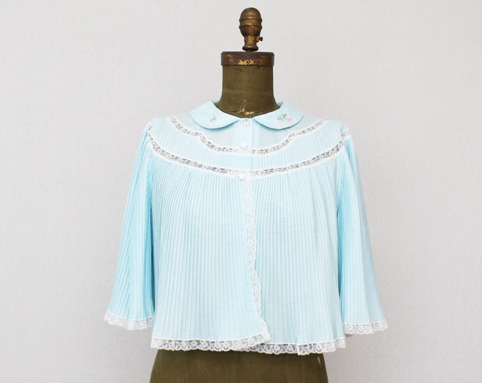Baby Blue Pleated Nightshirt - Vintage 1960s Lace and Pleats Night Jacket by Linda Underlovelies