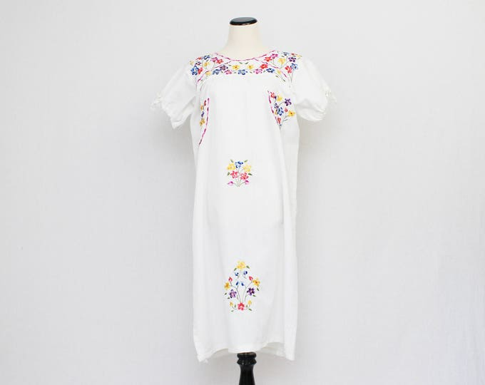 Mexican Embroidered Cotton Dress - Vintage 1960s Floral Summer Dress