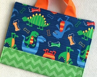 Crayon Portfolio Carrier Childrens Dino Green Blue Pattern Boy Large Comes With Coloring Book And Crayons