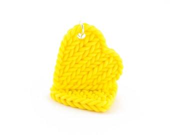 Faux knit jewelry - heart earrings - gifts for knitters - knit imitation - yellow earrings - statement earrings - colorful jewelry