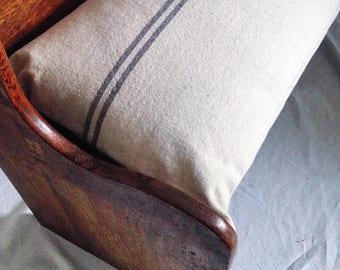 Grey Striped French Grainsack Bench Cushion