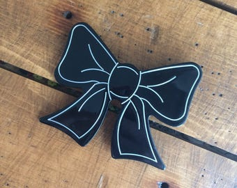 Vintage 1970's Large Black Plastic Bow Brooch