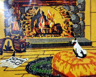Golden Bee Stitchery- Fireplace-crewel embroidery kit-mid century wall decor-siamese cat by the hearth
