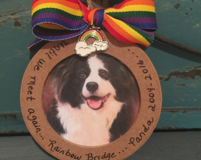 Rainbow bridge picture ornament with charm until we meet again
