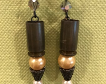 Bullet earrings with glass pearls & Swarovski accents