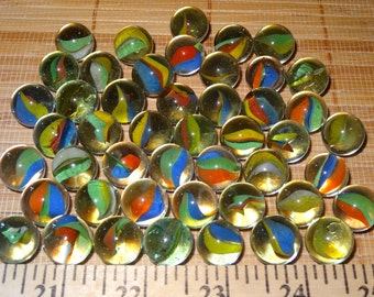 Lot of 47 Vintage Marbles / Cat Eye Marbles / Tri Color Marbles / Tri Color Cat Eye / Glass Marbles / Craft Marbles / Toy Marbles / Game