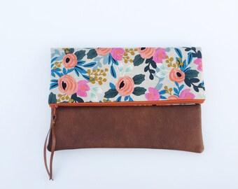 Floral design foldover clutch