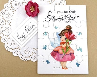 Flower Girl Proposal, Invitation, Fairy, Pink Wild Rose, Hand Painted, Organza Pouch, Gift, Paper, Jigsaw, NEW Improved Thicker Puzzle