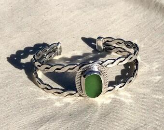 Silver Cuff Bracelet With Green Sea Glass