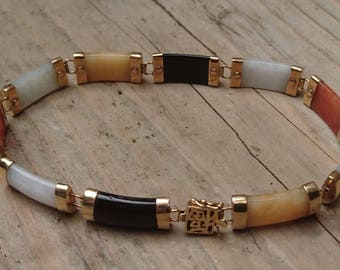 Vintage 10k gold Jade bracelet