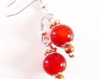 Carnelian Sterling Silver Dangle Earrings