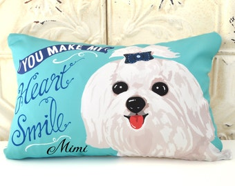 Personalized Maltese Art Pillow- You Make My Heart Smile