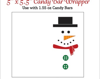 Snowman Candy Bar Wrappers - Printable Snowmen Candy Wrappers - Christmas Candy Bar Wrappers