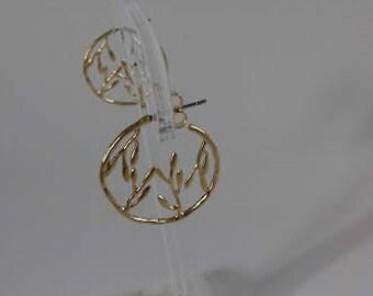 Matte gold plated leaf detail hoop earrings