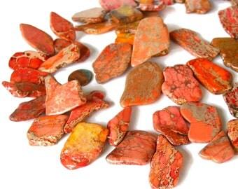 "15"" Aqua Terra Jasper Orange slab focal freeform nugget gemstone Beads - snakeskin - Impression Jasper - Half / Full strand"