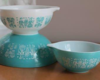 Vintage Pyrex Blue Butterprint Cinderella Nesting Bowls by Nine Star Vintage
