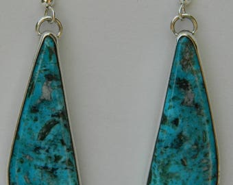 Native American Navajo Blue Turquoise Wrapped In Sterling Earrings Signed Adam Fierro