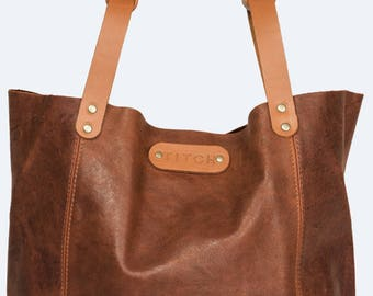 Brown Slouch Soft Leather Tote Handbag