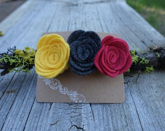 Felt Flower Barrette, Three Flower Hair Clip