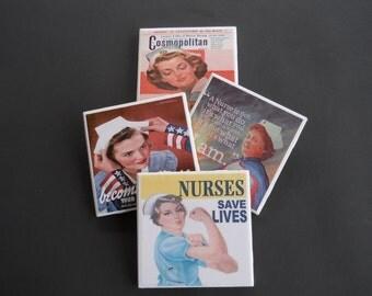 Nurse Coasters ~ Nursing Student Gift ~ Medical ~ Vintage Nurses ~ Graduation Gift ~ Ceramic Tile Coasters ~ Drink Coasters ~ Military Nurse