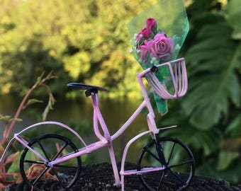 Pink Miniature Bicycle Fairy Garden, Enchanted Fantasy, Fairy Bike with Flowers
