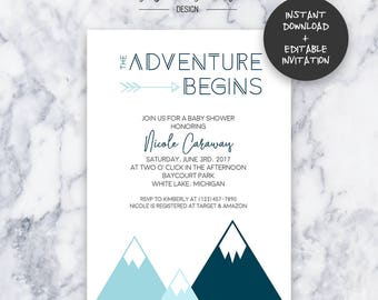 Teal Adventure Baby Shower Invitation   INSTANT DOWNLOAD   Editable PDF  Do It Yourself   Printable