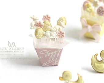 RESERVED for Debbie- Spring Easter Bunny Flower Egg themed Lollipops- Sweet Pastel Cake Pops - Dollhouse Miniature food 1:12