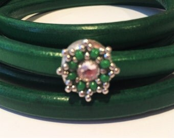 LIQUIDATION SALE: Licorice Leather SnowStar Slider, Silver, Green, Crystal