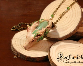 Jade Deer necklace amulet talisman pay forest spirit totem aventurine pendant jewelry handmade woodland Goddess Mother Earth gaia OOAK