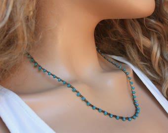 Boho Chic Crochet Necklace, Tiny Beads Layering Dainty Necklace&Bracelet