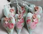 Shabby Rose Valentine's Heart, Blue PinkRose Chic Heart Ornament, Rose Valentine Day Gift Hang Tags, Rose heart, Shabby rose Victorian heart