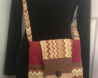 Handmade up-cycled boho vintage purse messenger bag