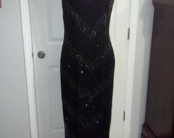Full length Laurence Kazar black sequin gown ,formal