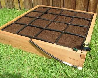 4ft x 4ft cedar raised garden bed kit with watering system allin