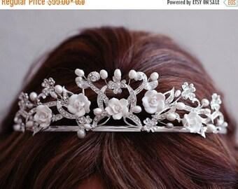 Wedding Rose Headpiece , Crystal Pearl Headband , Bridal Headpiece , Bridal Hair Accessories , Crystal Headband , Tiara , Beaded Headband