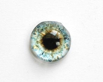 18mm handmade glass eye cabochon - pale blue / grey eye - Hempispherical / High dome