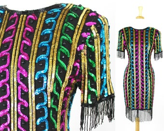 Fringe Sequin Dress Colorful Vintage Bright Beaded Flapper Cocktail Party